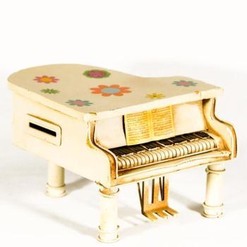 Vintage Διακοσμητικό μεταλλική μινιατούρα - Πιάνο Κουμπαράς 16 cm