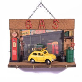 Vintage Διακοσμητικό Κλειδοθήκη Κίτρινο Αμάξι 26.0cm