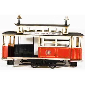 Vintage Διακοσμητικό μινιατούρα σιδερένια Τραμ 32.0 cm