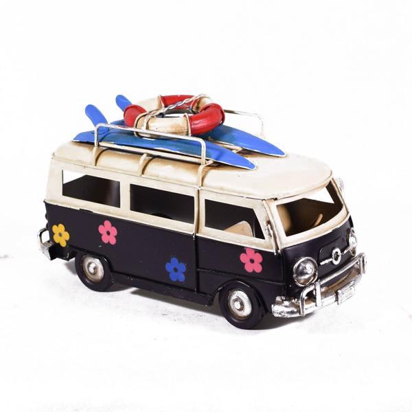 Vintage Διακοσμητικό Λεωφορείο Βαν Μαύρο Λουλουδάκια 17cm