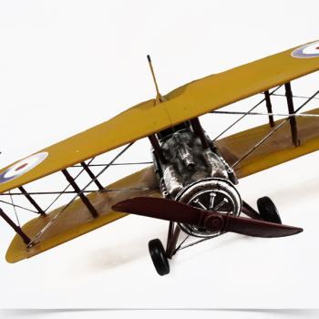 Vintage Διακοσμητικό Αεροπλάνο πολεμικό κίτρινο μουσταρδί μεγάλων διαστάσεων 48.0 cm
