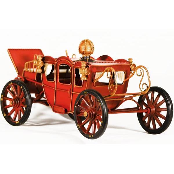 Vintage Διακοσμητικό μινιατούρα σιδερένια άμαξα πριγκιπική κόκκινη με χρυσό 32.0 cm