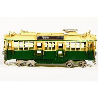 Vintage Διακοσμητικό μινιατούρα σιδερένια τραμ πράσινο 28.0 cm