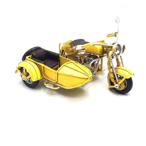 Vintage Διακοσμητικό μεταλλική μινιατούρα - Κίτρινη Μηχανή Με Καλάθι 11cm