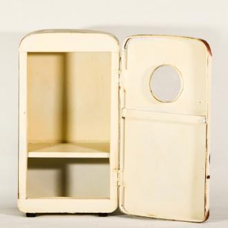 Vintage Διακοσμητικό Ψυγείο Άσπρο με ανοιγόμενο πορτάκι 28.0cm