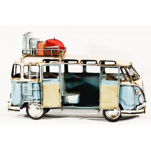 Vintage Διακοσμητικό μεταλλική μινιατούρα - Γαλάζιο λεωφορείο 27cm