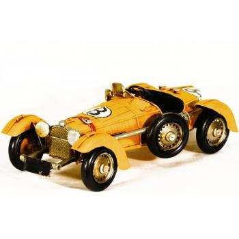 Vintage Μινιατούρα σιδερένια Αυτοκίνητο κίτρινο παλιό αγωνιστικό 28.0 cm