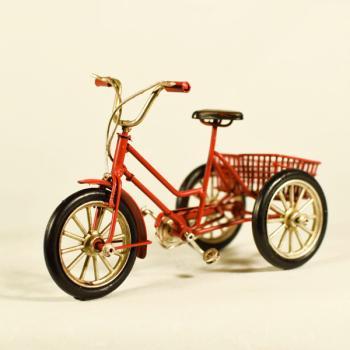 Vintage Διακοσμητικό μεταλλική μινιατούρα - Κόκκινο Ποδήλατο με Καλάθι 16.0 cm