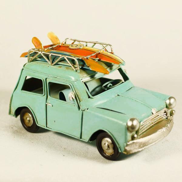 Vintage Διακοσμητικό Αυτοκίνητο Mini Γαλάζιο 16.0cm