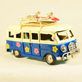 Vintage Διακοσμητικό Λεωφορείο Βαν Λουλουδάκια Μπλε 17.0cm