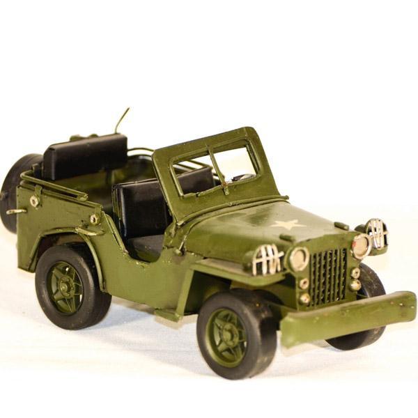 Vintage Διακοσμητικό μεταλλική μινιατούρα - Στρατιωτικό τζιπ πράσινο 17.0 cm