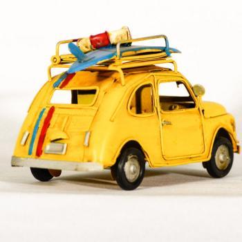 Vintage Διακοσμητικό μεταλλική μινιατούρα - Fiat 500 Κίτρινο Φωτογραφοθήκη 15.0 cm