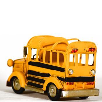 Vintage Διακοσμητικό μεταλλική μινιατούρα - Κίτρινο Σχολικό λεοφωρείο - μολυβοθήκη 16.0 cm