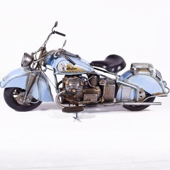 Vintage Διακοσμητικό μεταλλικό μινιατούρα - Μηχανή Γαλάζια Indian 37.0 cm