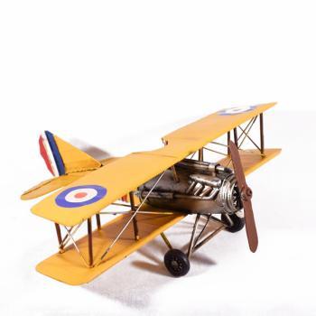 Vintage Διακοσμητικό μεταλλικό μινιατούρα - Αεροπλάνο Κίτρινο 35.0cm