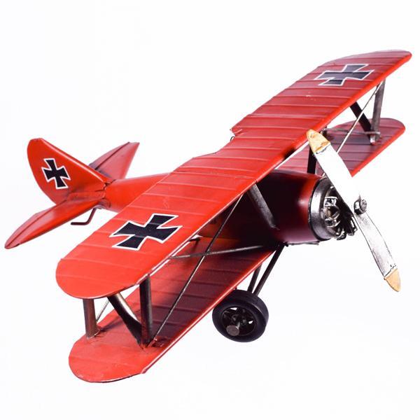 Vintage Διακοσμητικό μεταλλικό μινιατούρα - Αεροπλάνο Κόκκινο 35cm