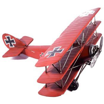 Vintage Διακοσμητικό μεταλλικό μινιατούρα - Αεροπλάνο Κόκκινο 28.0cm