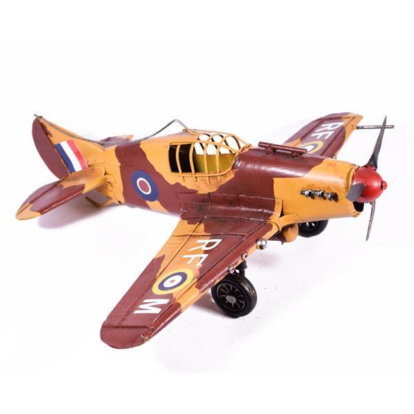 Vintage Διακοσμητικό μεταλλικό μινιατούρα - Αεροπλάνο Πολεμικό 28cm