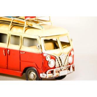 Vintage Μινιατούρα σιδερένια μεγάλων διαστάσεων Old School Bus Red 25cm
