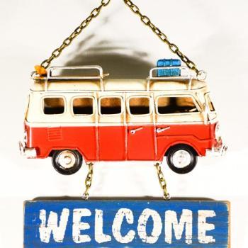 Vintage Διακοσμητικό μεταλλική μινιατούρα - Λεωφορείο Welcome Κόκκινο 17.0 cm