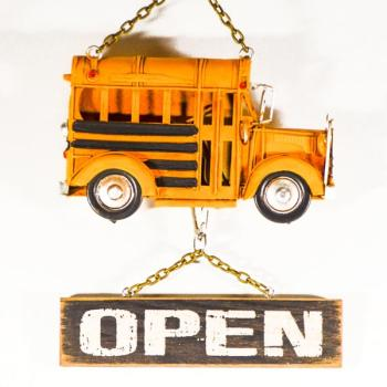 Vintage Διακοσμητικό μεταλλική μινιατούρα - Σχολικό Open-Closed 16.0 cm