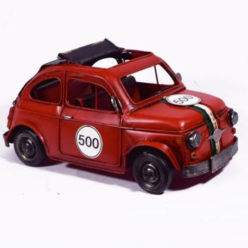 Vintage Διακοσμητικό Κόκκινο FIAT 500 αγωνιστικό 27.0cm