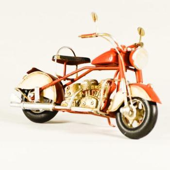 Vintage Διακοσμητικό μεταλλικό μινιατούρα - Μηχανή Πορτοκαλί 19.0 cm