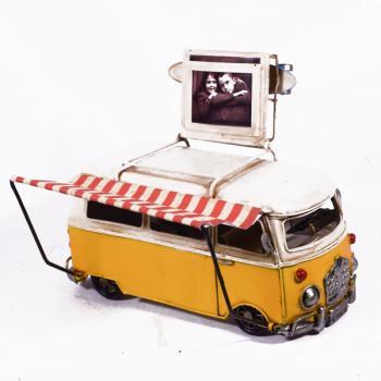 Vintage Διακοσμητικό Κίτρινο Βαν Λεωφορείο & Φωτογραφοθήκη 20.0cm