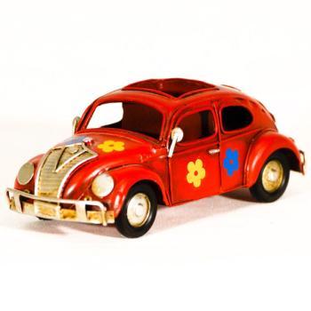Vintage Διακοσμητικό μεταλλική μινιατούρα - Κόκκινο αυτοκίνητο Σκαραβαίος - μολυβοθήκη 15.0 cm