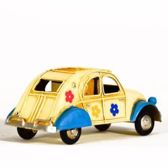 Vintage Διακοσμητικό μεταλλική μινιατούρα - Αυτοκίνητο Ντεσεβώ με λουλούδια - μολυβοθήκη 16.0 cm