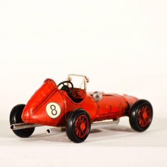 Vintage Διακοσμητικό μεταλλική μινιατούρα - κόκκινο αγωνιστικό αυτοκίνητο αντίκα 16.0 cm