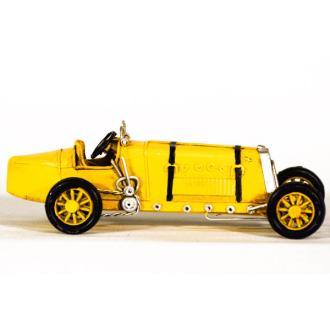 Vintage Διακοσμητικό μεταλλική μινιατούρα - κίτρινο αυτοκίνητο αγωνιστικό 16.0 cm