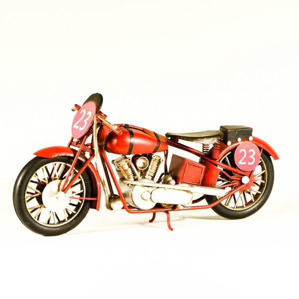 Vintage Διακοσμητικό μεταλλικό μινιατούρα - Μηχανή Κόκκινη Αγωνιστική 28.0 cm
