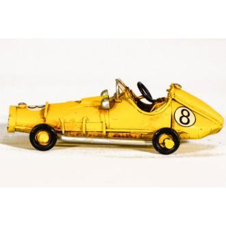 Vintage Διακοσμητικό μεταλλική μινιατούρα - κίτρινο αυτοκίνητο ράλλυ 11.0 cm
