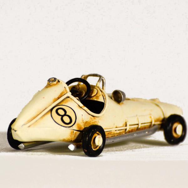 Vintage Διακοσμητικό μεταλλική μινιατούρα - άσπρο αυτοκίνητο ράλλυ 11.0 cm