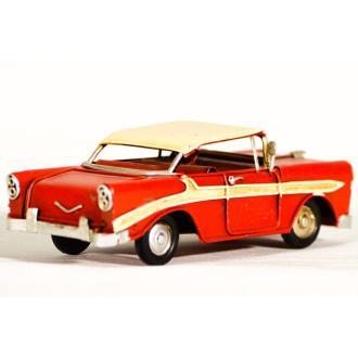 Vintage Διακοσμητικό μεταλλική μινιατούρα - κόκκινο αυτοκίνητο αντίκα 16.0 cm