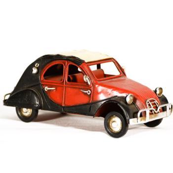 Vintage Διακοσμητικό μεταλλική μινιατούρα - Κόκκινο με μαύρο αυτοκίνητο Σκαραβαίος 16.0 cm