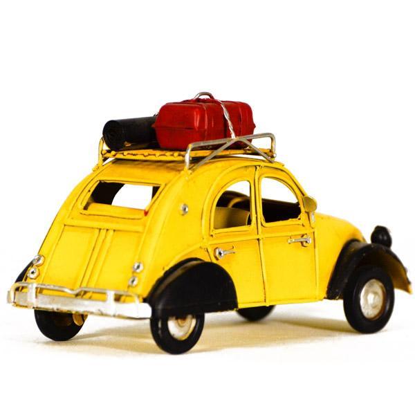Vintage Διακοσμητικό μεταλλική μινιατούρα - Κίτρινο αυτοκίνητο Ντεσεβώ 16.0 cm