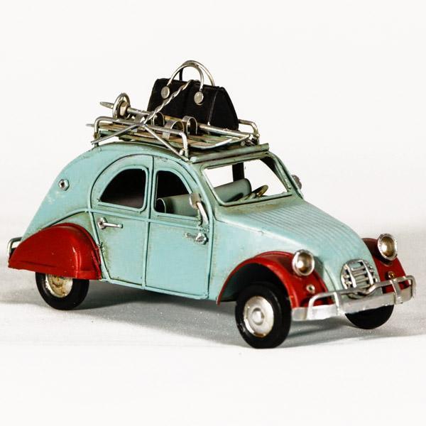 Vintage Διακοσμητικό μεταλλική μινιατούρα - Γαλάζιο αυτοκίνητο Ντεσεβώ 16.0 cm