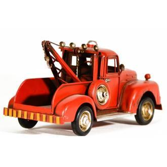 Vintage Μινιατούρα σιδερένια μεγάλων διαστάσεων Φορτηγό Γερανός Κόκκινο 25cm