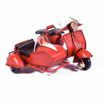Vintage Διακοσμητικό μεταλλική μινιατούρα - Κόκκινη Βέσπα Καλάθι 11.5cm