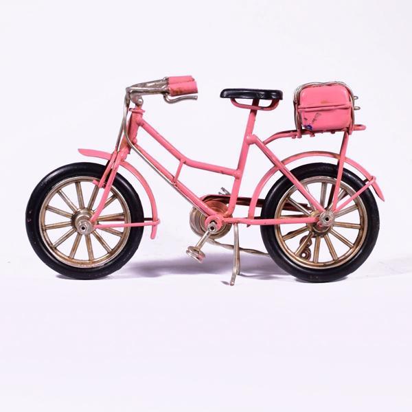 Vintage Διακοσμητικό μεταλλική μινιατούρα - Ροζ Ποδήλατο 16.0 cm
