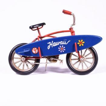 Vintage Διακοσμητικό μεταλλική μινιατούρα - Ποδήλατο Κόκκινο με Surf 16.0 cm