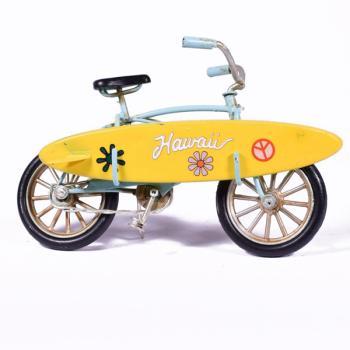 Vintage Διακοσμητικό μεταλλική μινιατούρα - Ποδήλατο Γαλάζιο με Surf 16.0 cm