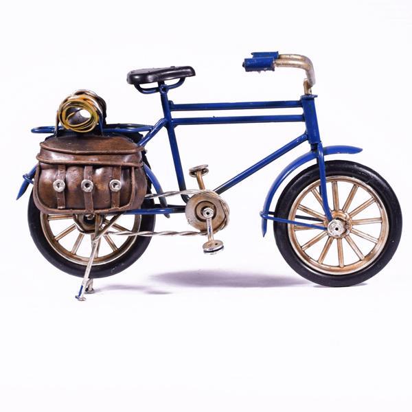 Vintage Διακοσμητικό μεταλλική μινιατούρα - Μπλε Ποδήλατο με τσάντα 16.0 cm