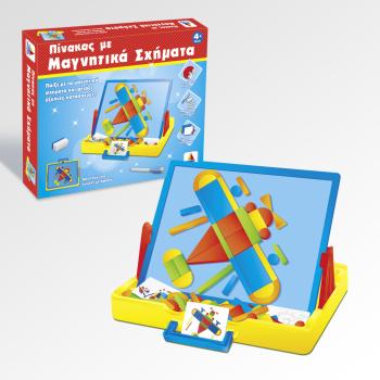 Εκπαιδευτικό παιχνίδι Πίνακας με μαγνητικά σχήματα με έξυπνες κατασκευές (4+ ετών)