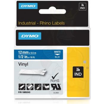DYMO Ετικέτες RHINO 12mm x 1.5Μ White on Blue Vinyl 1805243