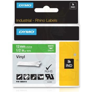 DYMO Ετικέτες RHINO 12mm x 1.5Μ White on Green Vinyl 1805414