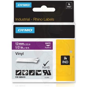 DYMO Ετικέτες RHINO 12mm x 1.5Μ White on Purple Vinyl 1805415