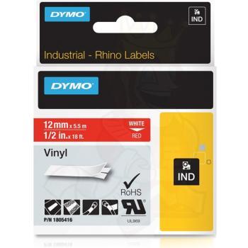 DYMO Ετικέτες RHINO 12mm x 1.5Μ White on Red Vinyl 1805416